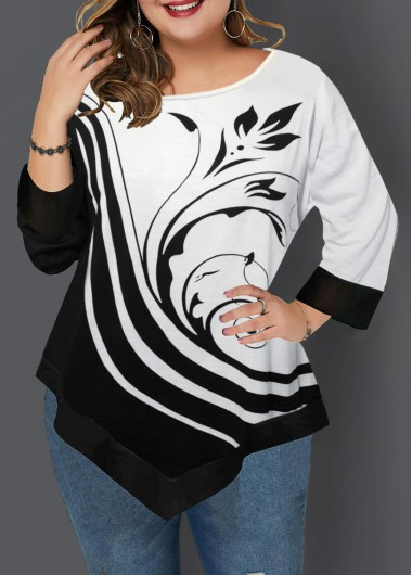 Women'S Black And White Plus Size Printed T Shirt Color Block Asymmetric Hem Three Quarter Sleeve Longline Tunic Casual Top By Rosewe - 0X