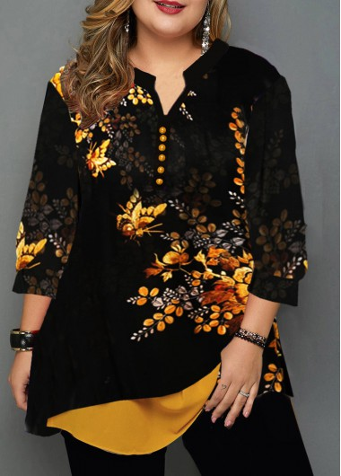 Women'S Black Plus Size Layered Hem Tunic Blouse Floral Printed Three Quarter Sleeve Split Neck Casual Fall Top By Rosewe - 0X