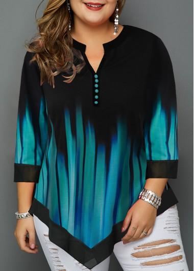 Women'S Cyan Split Neck Plus Size Casual T Shirt Asymmetric Hem Three Quarter Sleeve Tunic Fall Top By Rosewe - 0X