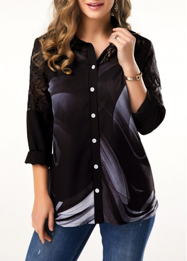 Women'S Black Turndown Collar Three Quarter Sleeve Blouse Lace Patchwork Button Detail Tunic Casual Top By Rosewe - M