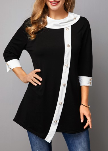 Women'S Black Asymmetric Hem Long Sleeve T Shirt Contrast Panel Eyelet Detail Tunic Casual Top By Rosewe - L