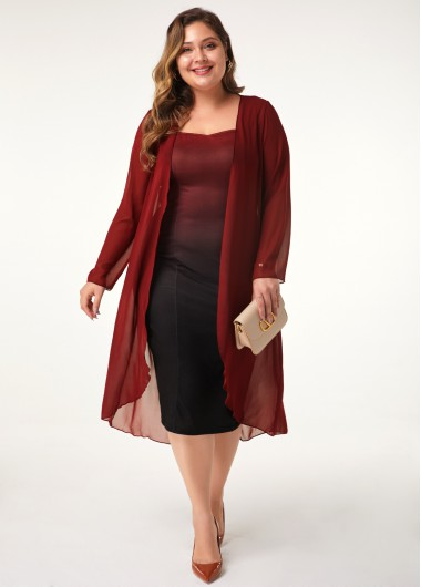 Women'S Red Chiffon Plus Size Cocktail Party Dress Ombre Dip Dye Long Sleeve Sheath Midi Dress By Rosewe - 0X