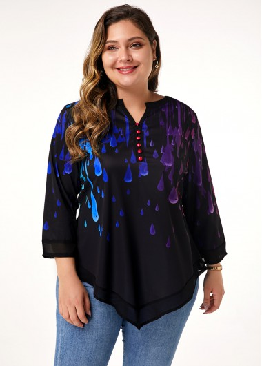 Women'S Black Printed Plus Size Casual Blouse Asymmertric Hem Split Neck Three Quarter Sleeve Tunic Top By Rosewe - 0X