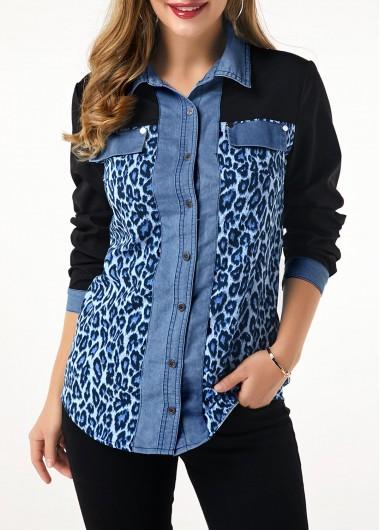 Women'S Blue Denim Leopard Print Button Up Tunic Shirt Long Sleeve Denim Panel Work Casual Top By Rosewe - L