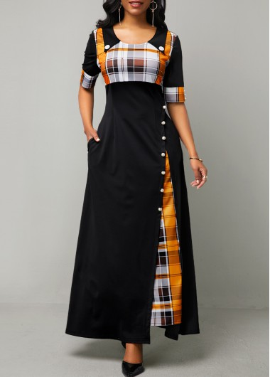 Women'S Black Plaid Print Half Sleeve Vintage Dress High Waisted Button Detail Maxi Casual Dress By Rosewe - L