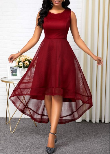 Women'S Deep Red High Waisted Sleeveless A Line Cocktail Party Holiday Dress  Solid Color High Low Maxi Elegant Dress By Rosewe - XXL