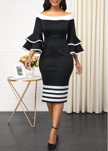 Women'S Black Layered Bell Sleeve Striped Print Cocktail Party Dress Off The Shoulder Zipper Back Three Quarter Sleeve Sheath Dress By - 10