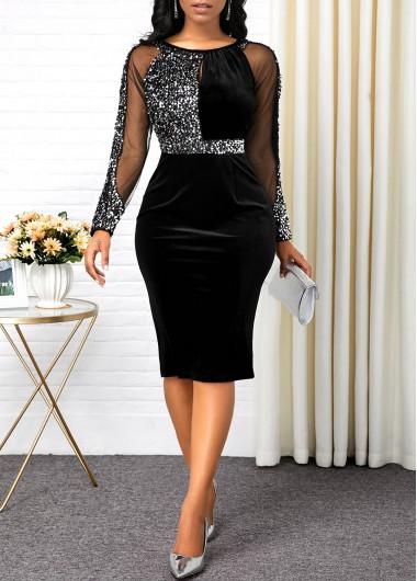 Women'S Black Sequin Back Slit Cocktail Party Dress Long Sleeve Mesh Panel Sheath Elegant Midi Dress By Rosewe - L