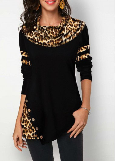 Women'S Black Long Sleeve Leopard Print Tunic T Shirt Button Detail Casual Top By Rosewe - XL