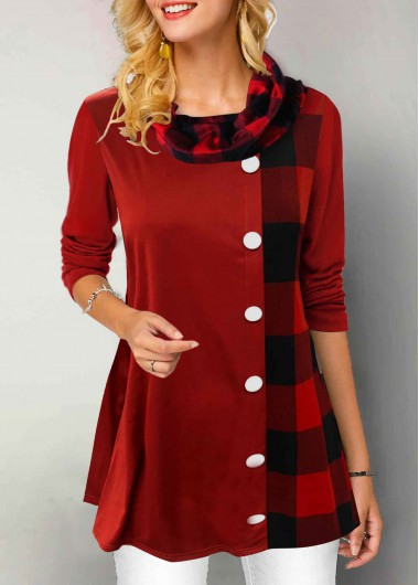 Women'S Red Cowl Neck Plaid Print Tunic Holiday T Shirt  Button Detail Long Sleeve Casual Top By Rosewe - L