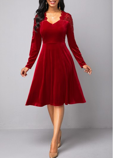 Valentine'S Day Women'S Wine Red Lace Panel Long Sleeve Velvet  Cocktail Party Dress Solid Color Zipper Back A Line Elegant Dress By - L