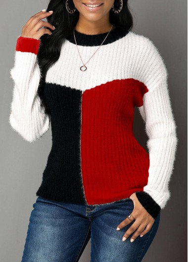 Women'S Red Long Sleeve Round Neck Sweater Xmas Color Block Tunic Casual Top By Rosewe - L
