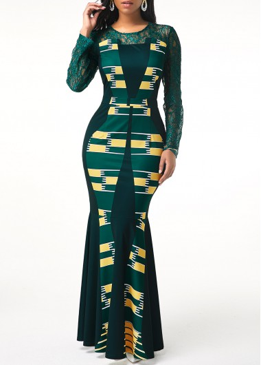 Women'S Dark Green Tribal Print Long Sleeve Maxi Elegant Dress Illusion Lace Panel Sheath Cocktail Party Dress By Rosewe - M