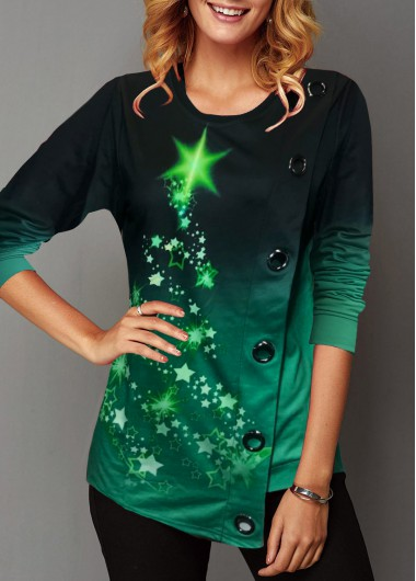 Christmas Women'S Green Long Sleeve Asymmetric Hem Tunic Sweatshirt Xmas Ombre Dip Dye Star Print Grommet Casual Top By Rosewe - L