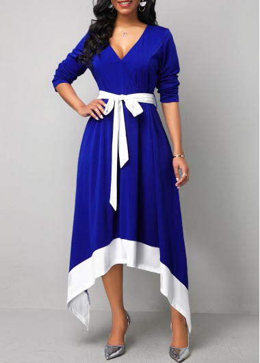 Women'S Royal Blue Belted Asymmetric Hem Long Sleeve Cocktail Party Dress Contrast Panel Maxi Elegant Dress By Rosewe - L