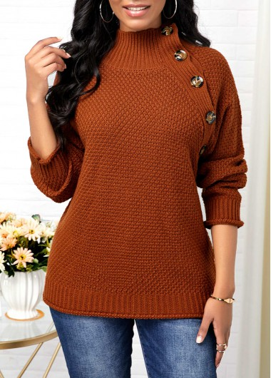 Women'S Brown High Neck Pullover Button Detail Sweater Solid Color Long Sleeve Tunic Casual Jumper By Rosewe - L