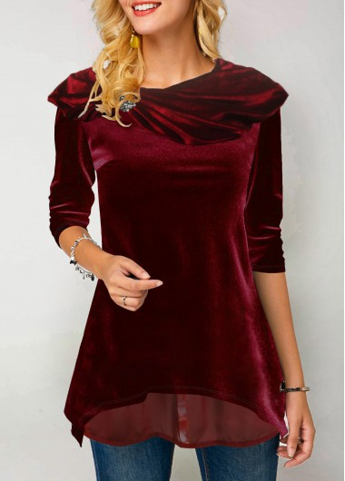 Women'S Wine Red Layered Hem Long Sleeve Holiday T Shirt  Burgyundy Rhinestone Embellished Tunic Casual Top By Rosewe - L