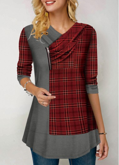 Women'S Red Plaid Print Long Sleeve Holiday T Shirt  Color Block Zipper Detail Tunic Casual Top By Rosewe - L