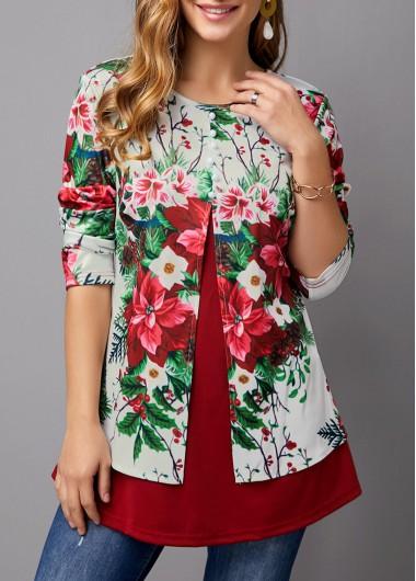 Christmas Flower Print Long Sleeve T Shirt - L