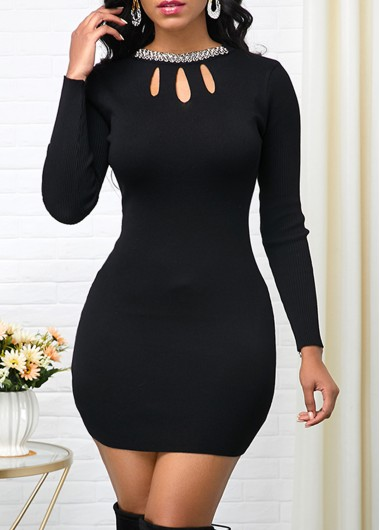 Rhinestone Embellished Pierced Black Sweater Dress