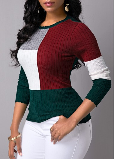 Women'S Color Block Round Neck Long Sleeve Sweate Pullover Casual Jumper By Rosewe - XXL