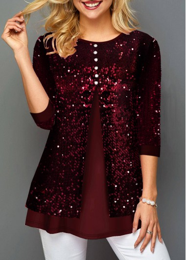 New Years Eve Women'S Wine Red Sequin Faux Two Piece Holiday T Shirt  Solid Color Three Quarter Sleeve Tunic Casual Top By Rosewe - L