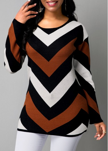 Women'S Color Block V Pattern Long Sleeve Pullover Sweater Round Neck Tunic Casual Jumper By Rosewe - XL