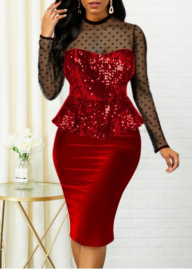 Christmas Rosewe Women Red Sequin Velvet Cocktail Party Dress Xmas Long Sleeve Faux Two Piece Illusion Sheath Knee Length Elegant Holiday Dress - L