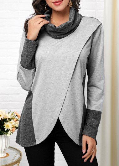 Women'S Grey Cowl Neck Tulip Hem Contrast Panel Long Sleeve T Shirt Asymmetric Hem Tunic Casual Top By Rosewe - M