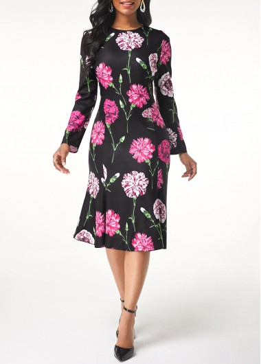 Women'S Black Long Sleeve Floral Print Spring Dress Round Neck Midi Casual Dress By Rosewe - M