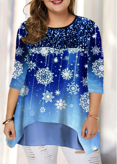 Christmas Women'S Blue Plus Size Snow Print Tunic Holiday T Shirt Xmas Long Sleeve Layered Hem Casual Top By Rosewe - 0X