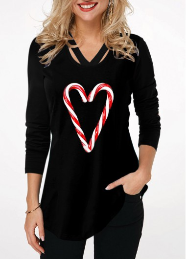 Christmas Women'S Black Candy Cane Print Long Sleeve Holiday T Shirt Xmas Curved Hem Tunic Casual Top By Rosewe - L