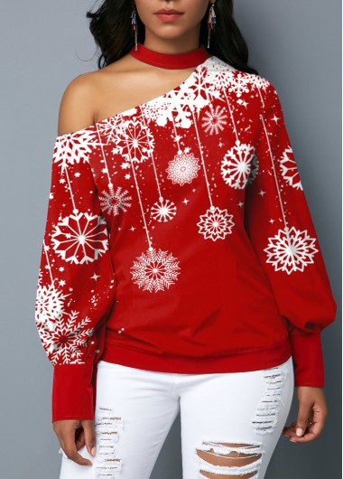 Women'S Red Snowflake Print One Cold Shoulder Long Sleeve Holiday Blouse  Puff Sleeve Mock Neck Tunic Holiday Top By Rosewe - L