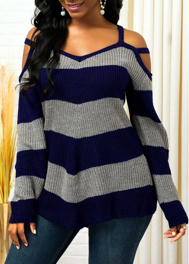 Striped Cold Shoulder Asymmetric Hem Sweater
