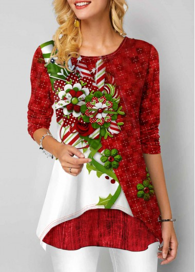 Women'S Red Floral Print Long Sleeve Round Neck Tunic T Shirt  Layered Hem Casual Holiday Top By Rosewe - L