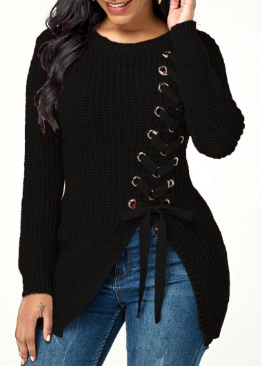 Women'S Black Rib Knit Lace Up Asymmetric Hem Casual Sweater Solid Color Long Sleeve Winter Top By Rosewe - L