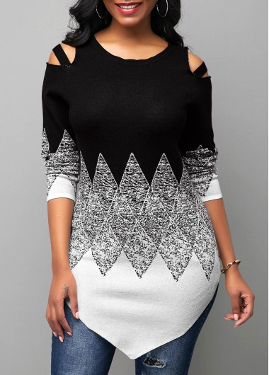 Women'S Black And White Cold Shoulder Round Neck Asymmetric Hem Sweater Color Block Long Sleeve Longline Tunic Casual Jumper By Rosewe - L