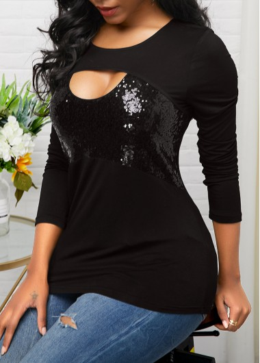 New Years Eve Women'S Black Sequin Long Sleeve Holiday T Shirt Solid Color Coutout Neckline Tunic Casual Top By Rosewe - M