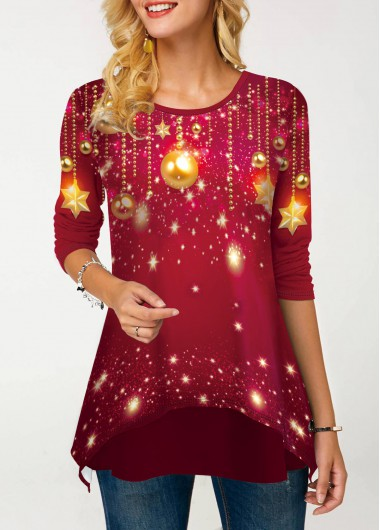 Women'S Rose Red Star Printed Layered Hem Long Sleeve T Shirt  Tunic Casual Holiday Top By Rosewe - L