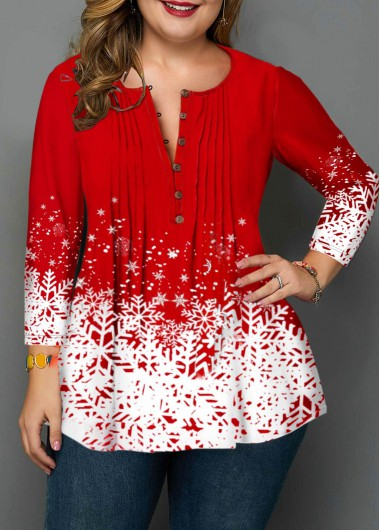 Women'S Red Plus Size Snowflake Print Holiday Blouse Split Neck Three Quarter Sleeve Tunic Casual Top By Rosewe - 0X