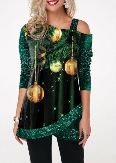 Women'S Dark Green Sequin Tulip Hem Half Sleeve T Shirt  Printed Skew Neck Strappy Tunic Casual Holiday Top By Rosewe - L