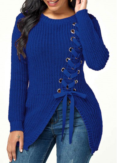 Women'S Blue Rib Knit Lace Up Asymmetric Hem Sweater Solid Color Round Neck Long Sleeve Casual Jumper By Rosewe - L