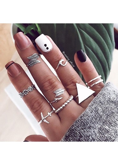 Mother's Day Gifts Silver Metal 9pcs Triangle Shape Rings - One Size