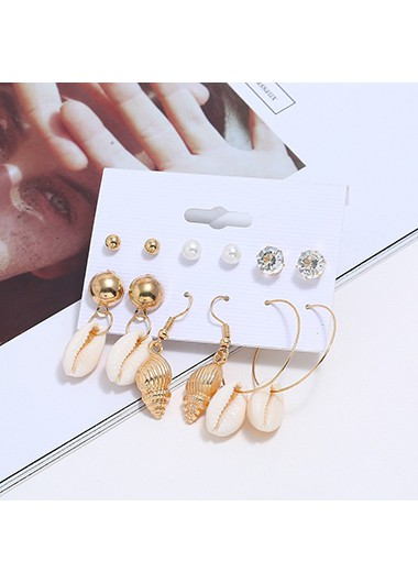 Mother's Day Gifts Rhinestone Detail 6pairs Shell Shape Earrings - One Size