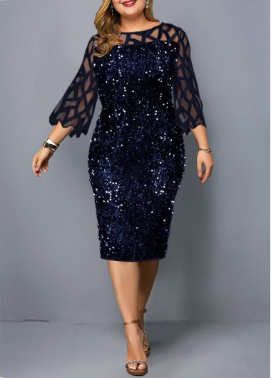 Women'S Navy Blue Sequin Plus Size Holiday Dress Illusion Three Quarter Sleeve Mesh Panel Sheath Cocktail Party Midi Dress By Rosewe - 0X