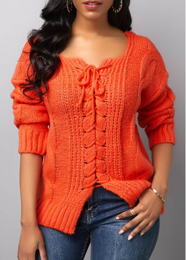 Women'S Orange Red Long Sleeve Round Neck Tunic Sweater Solid Color Pullover Casual Jumper By Rosewe - L