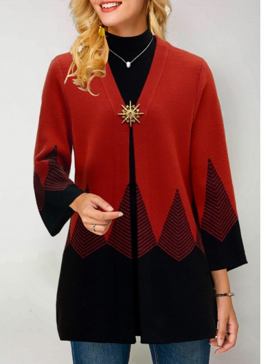 Women'S Red Three Quarter Sleeve Contrast Panel Pullover Sweater Open Front Tunic Casual Jumper Cardigan By Rosewe - M