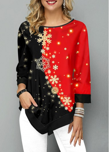 Women'S Black And Red Snowflake Print Asymmetric Hem Three Quarter Sleeve Holiday T Shirt  Color Block Tunic Casual Top By Rosewe - L