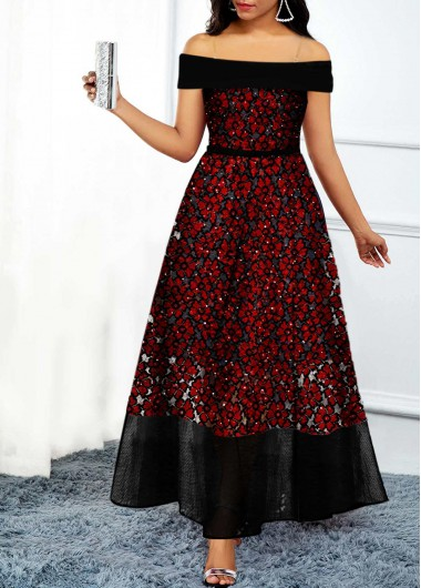 Christmas Women'S Wine Red Sequin Off The Shoulder Maxi Cocktail Party Holiday Dress Xmas Short Sleeve Lace Panel Dress By Rosewe - M