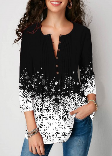 Women'S Black Snowflake Print Three Quarter Sleeve Split Neck Holiday Blouse Tunic Casual Top By Rosewe - L